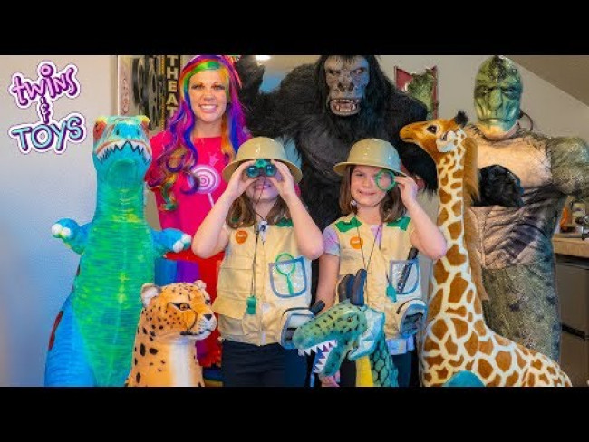 Pretend Play Stuffed Animal Safari with Princess Lollipop, Kate and Lilly!