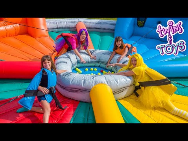 Princess Lollipop & Princess Sunshine Play Games on Giant Inflatable!