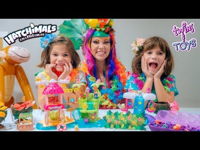 Princess Lollipop has a TROPICAL PARTY with Season 4 Hatchimals and Twins Kate & Lilly!!