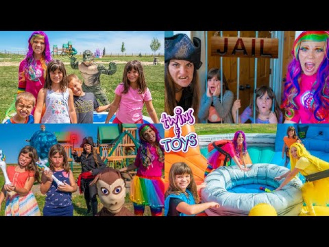 Princess Lollipop make believe play with Kate and Lilly, Pirate Witch, Princess Sunshine and More!