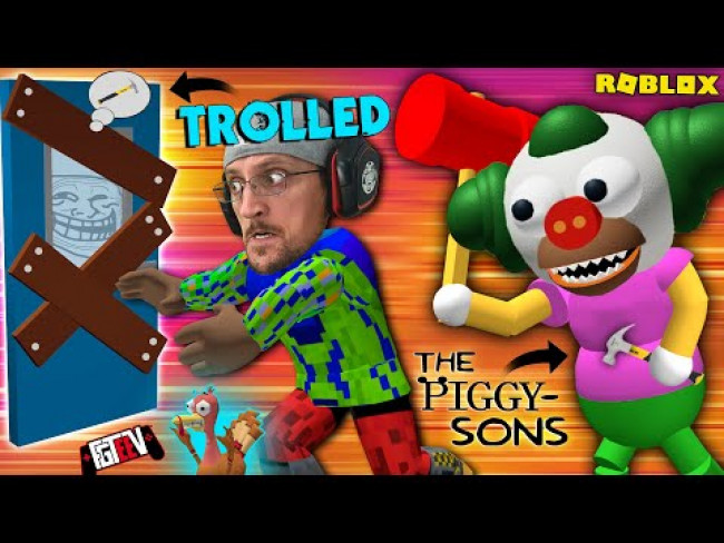 ROBLOX PIGGY-SONS TROLL! Krusty the Clown @ my School (FGTeeV SIMPSONS Escape Game)