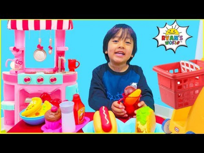 Ryan Cooking and Pretend Play Grocery Store fun!!!