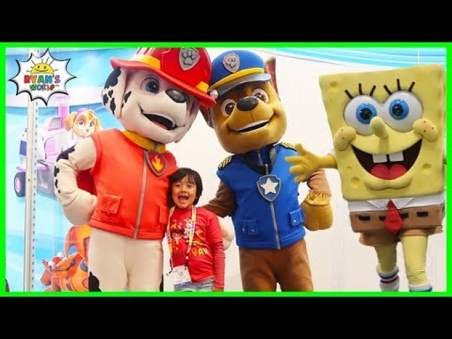 Ryan meets Paw Patrol Chase and SpongeBob SquarePants!!!!