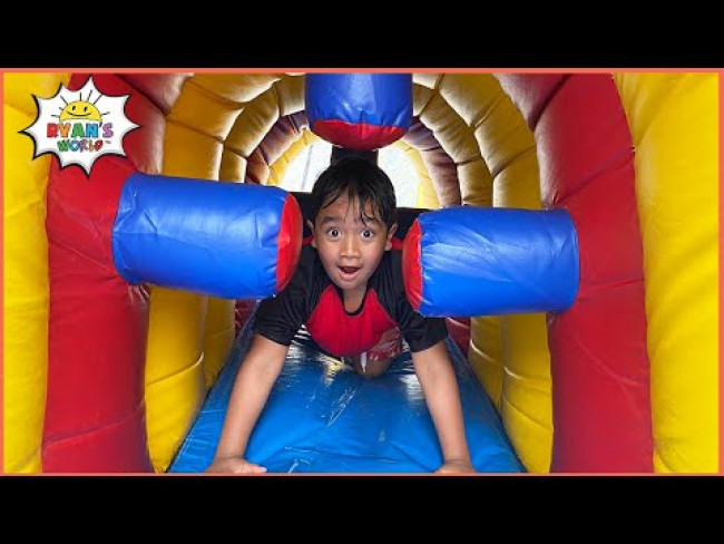 Ryan play with Inflatable Water Slide with family!!!