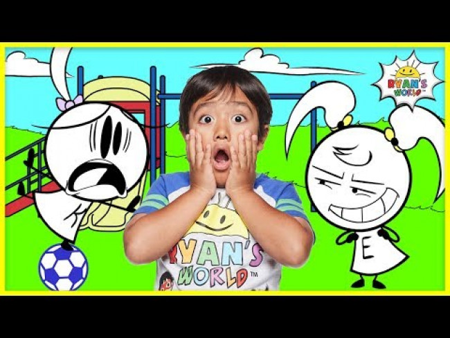 Ryan Pretend Play with Emma and Kate EK Doodles at the Park | Kids Animation fun