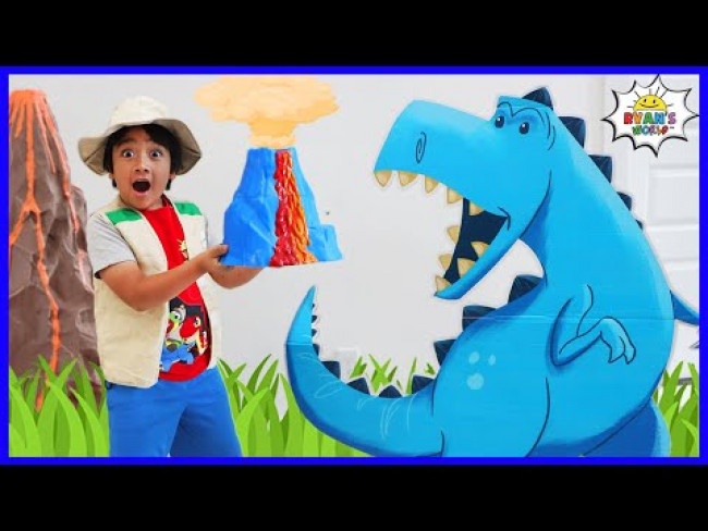 Ryan's Dinosaur Adventure to find Mystery Volcano Surprise!!!