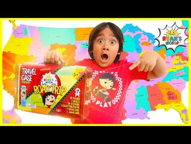 Ryan's Road Trip Going around the United States MAP Pretend Play!!!!