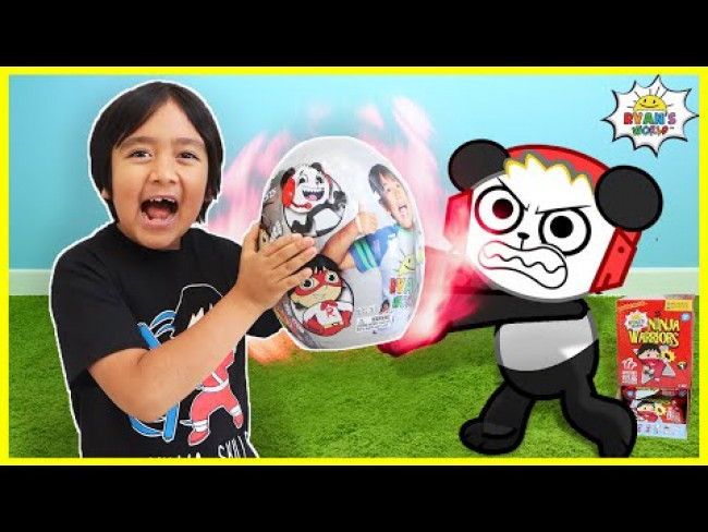Ryan's World Adventure Mystery Egg Combo Panda vs Red Titan!!!