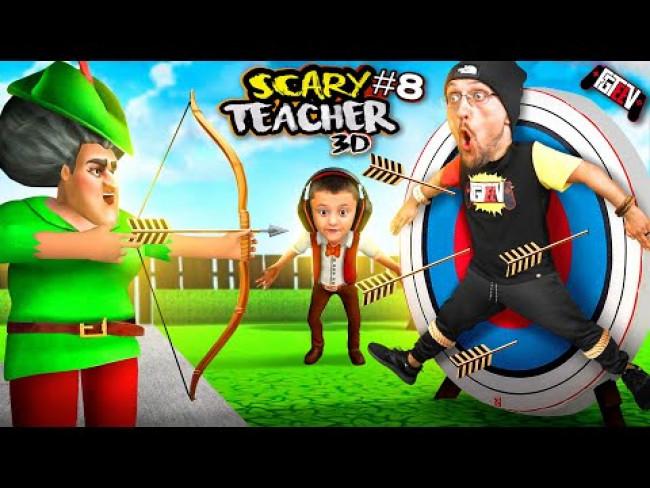 SCARY TEACHER Almost Shot Me THERE! She's a Pain in the Axe! S⋊Ɔ∩S ʎɐlƆ plıM pɐɥƆ (FGTeeV Skit)