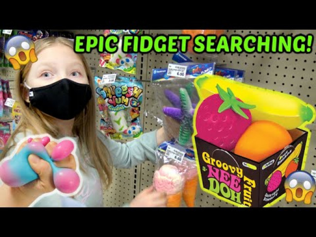 SEARCHING for FIDGETS with KAIA! GIANT NEE DOH STRESS BALL - SLIME - KIDS REACT TO FIDGETS!