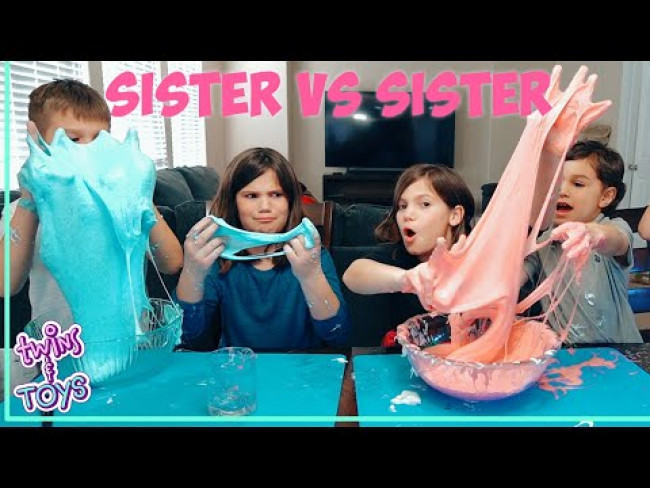 Sister VS Sister DIY Slime Science Experiment!