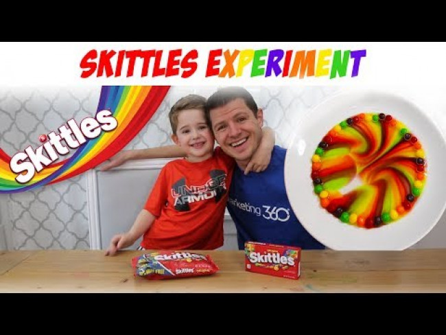 Skittles Experiment - Kids science experiment with Skittles - Skittles Rainbow STEM Activity