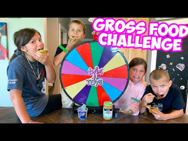 Spin the Wheel - GROSS food challenge! Girls vs Boys