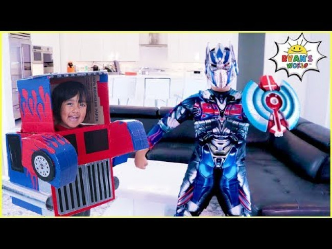 Superhero Ryan Transformer vs Optimus Prime Mommy Pretend Play Story!!