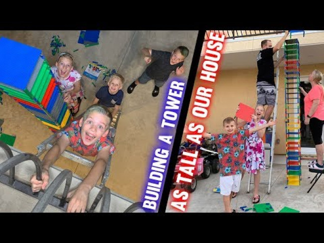 Taller Than Our HOUSE! | Family Fun Pack Brik Tower Challenge!!