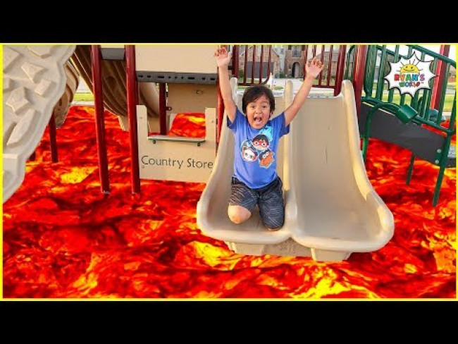 The Floor is LAVA challenge at the Park with Ryan!!!!
