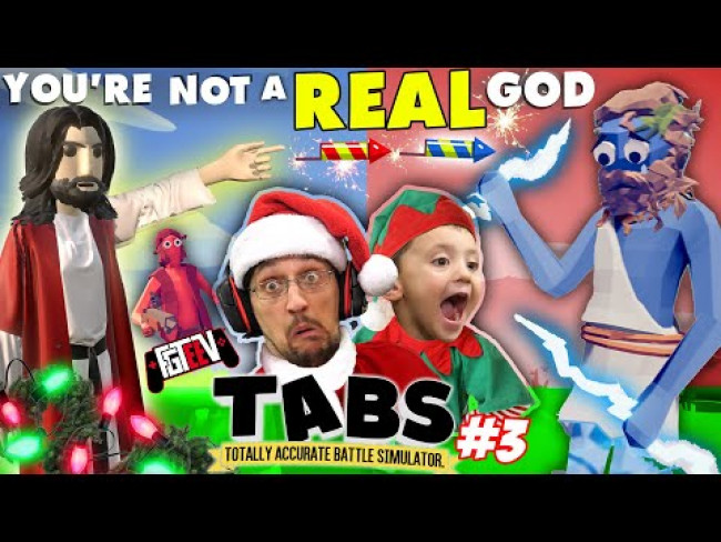 TOTALLY ACCURATE GOD BATTLE SIMULATOR!!  Zeus vs Jesus!  (Merry Christmas from FGTeeV)