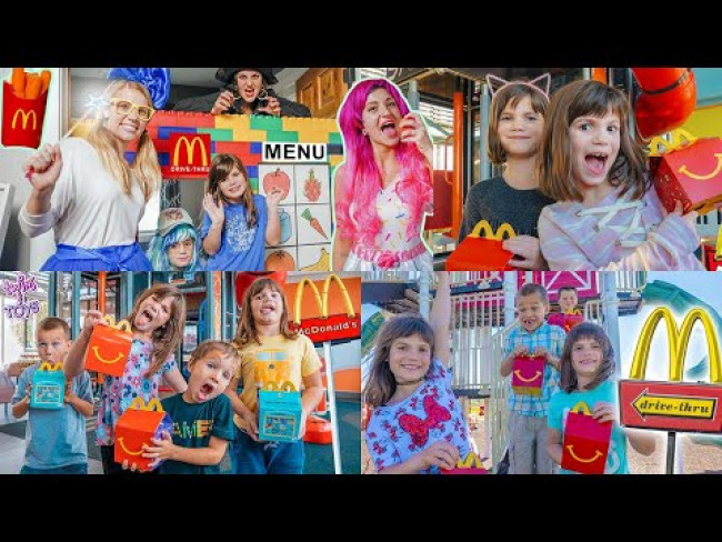 Twin Sisters go to McDonald's Drive Thru and GIANT Play Place!
