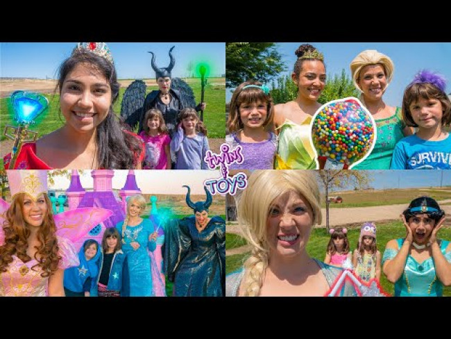 Twin sisters pretend PLAY with Elsa, Anna, Maleficent, Fairy Godmother, Tiana, and more princesses!