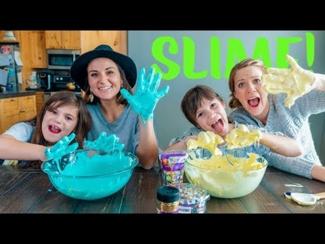 Twins Kate and Lilly Make Fluffy Slime - DIY Science Experiment!
