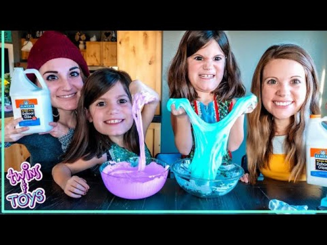 Twins Make Fluffy Slime with Science - DIY Experiment!