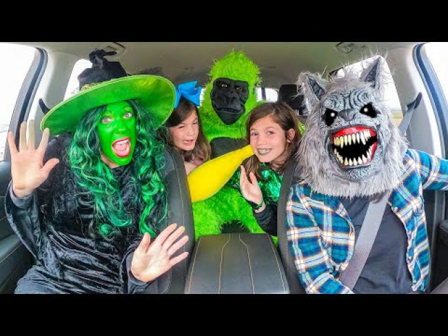 Wolf Surprises Witch and Twin Sisters with Dancing Car Ride!