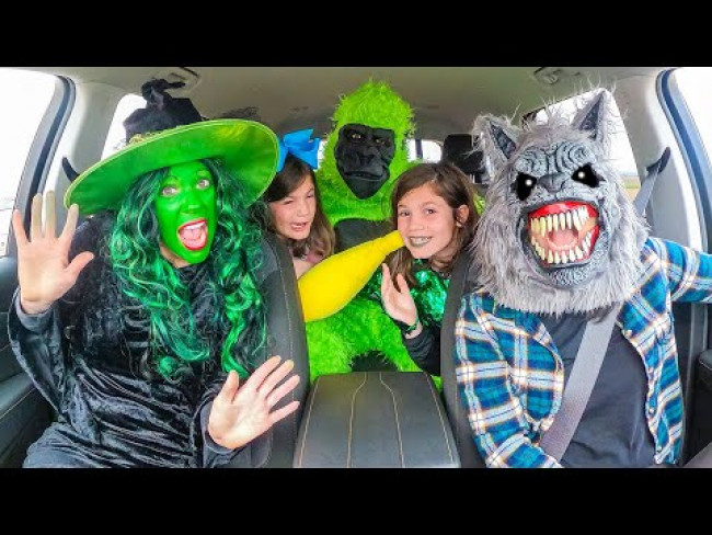 Wolf Surprises Witch and Twins with Dancing Car Ride!